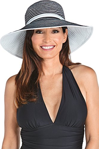 Coolibar UPF 50+ Women's Ribbon Hat - Sun Protective (One Size - Black/White)