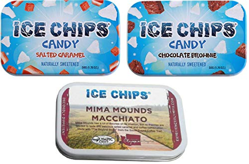 (ICE CHIPS Candy 3 Pack Assortment (Salted Caramel, Chocolate Brownie & Macchiatto))