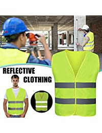 Lianle Reflective Safety Vest,1/4Pack Industrial Safety Vest with Waterproof Reflective Stripes for Work, Cycling, Runner, Surveyor, Volunteer, Crossing Guard, Road, Construction,M