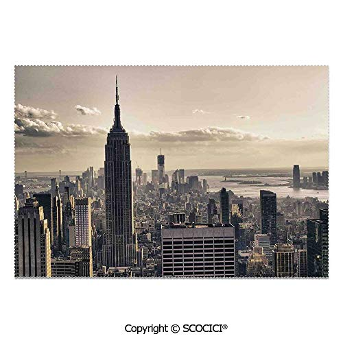 SCOCICI Place Mats Set of 6 Personalized Printed Non-Slip Table Mats Aerial View of NYC in Winter Time American Architecture Historical Popular Metropolis Photo for Dining Room Kitchen Table Decor