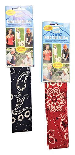 Cool Downz Cooling 1 Paisley & 1 Red Neck Wraps (2 Pack), Navy