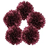 Just Artifacts 5pcs 18'' Raisin Tissue Paper Pom Pom Flower Ball