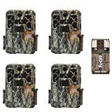 Four Browning Recon Force Advantage 20MP Trail/Game Cameras (1080P Video) with Focus USB Card Reader