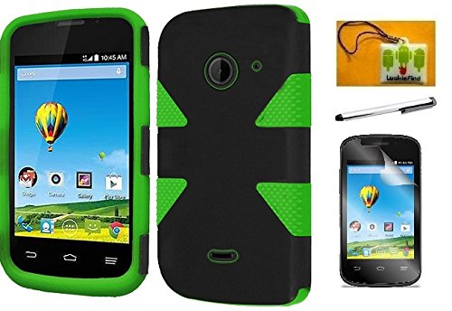 (LF 4 in 1 Bundle - Green Dynamic Hybrid Dual Layer Case Cover, Lf Stylus Pen, Screen Protector & Droid Wiper Accessory For ZTE Z667 (AT&T) Zinger (T-Mobile) Whirl 2 (Net 10) (Dynamic Green))