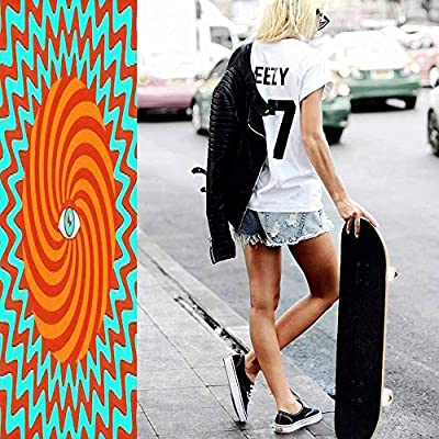 Classic Concave Skateboard Color Hypnotic Retro Poster with Eye Longboard Maple Deck Extreme Sports and Outdoors Double Kick Trick for Beginners and Professionals : Sports & Outdoors