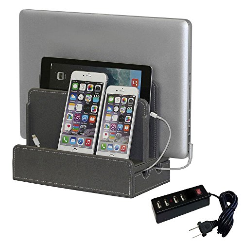 Double Face Mobile Bookcase (G.U.S. Multi-Device Charging Station Dock & Organizer - Multiple Finishes Available. For Laptops, Tablets, and Phones - Strong Build, Gray Leatherette with 4-Port USB Power Strip)