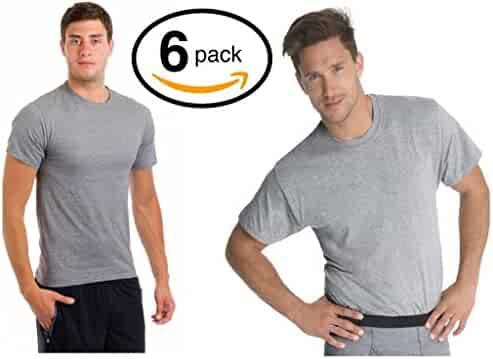 Fruit of the Loom Men's Stay Tucked Crew T-Shirt - XX-Large Tall / 50-52 Chest - Black & Grey Stay Tucked (Pack of 6)