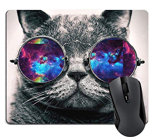 Supwek Gaming Mouse Pad Custom - Galaxy Hipster Cat Wear Color Sunglasses Mouse Pads Large Mat for Laptop Computer 9.5 X 7.9 inch (240mmX200mmX3mm)