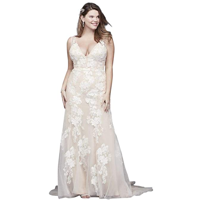Deep V Plus Size Wedding Gown with Floral Applique Style ...