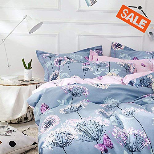 VClife Chic Queen Bedding Sets Floral Branches Butterfly Printed Duvet Comforter Cover Sets Girl Teens Cotton Pink Blue Bedding Collection, Soft Hypoallergenic, Lightweight, Breathable, Durable, Queen (Comforters Pink Blue And)