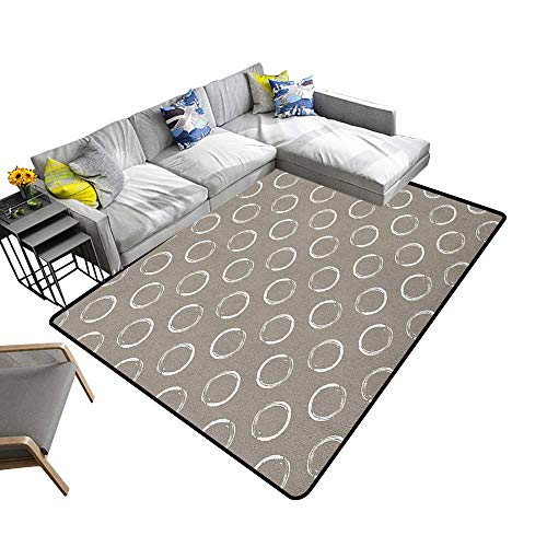 - Taupe Household Decorative Floor mat Simple Artistic Pattern Ring Shapes Grungy Display with Brushstrokes Vintage Style 70