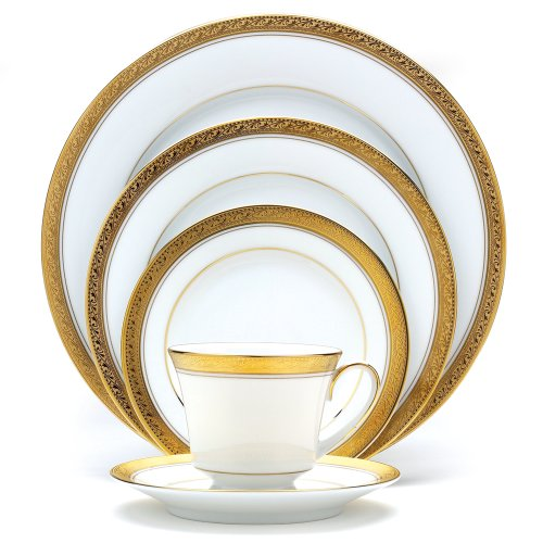 Setting Porcelain Place - Noritake Crestwood Gold 5-Piece Place Setting
