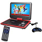 Buyee Handheld Portable DVD Player 9.5 Inch 270 Degree Swivel Screen (Red)
