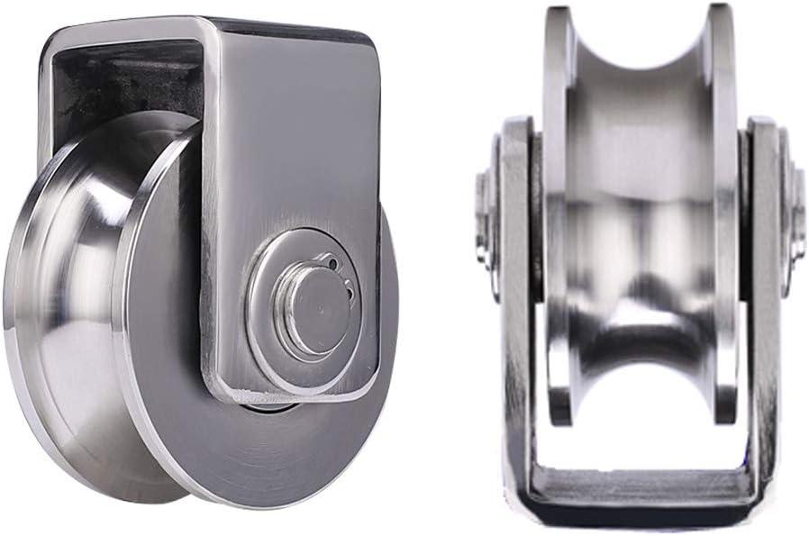 2 U-Groove Ruedas de Acero Inoxidable 304,Polea Rígidas de Pesado,Ruedas Direccional,Doble Rodamiento,para Tubo Redondo,Riel de Cable,Puerta Corrediza,Carro Mecánico Industrial (25mm)