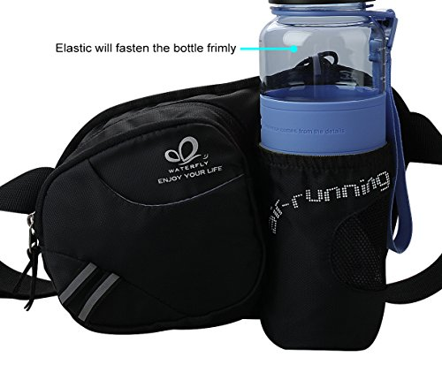 WATERFLY Hiking Waist Bag Can Hold iPhone6 Plus 5.9 inch Gear with Water Bottle Holder/Funny Running Belt Bum Bag for Ridding Dog Walking