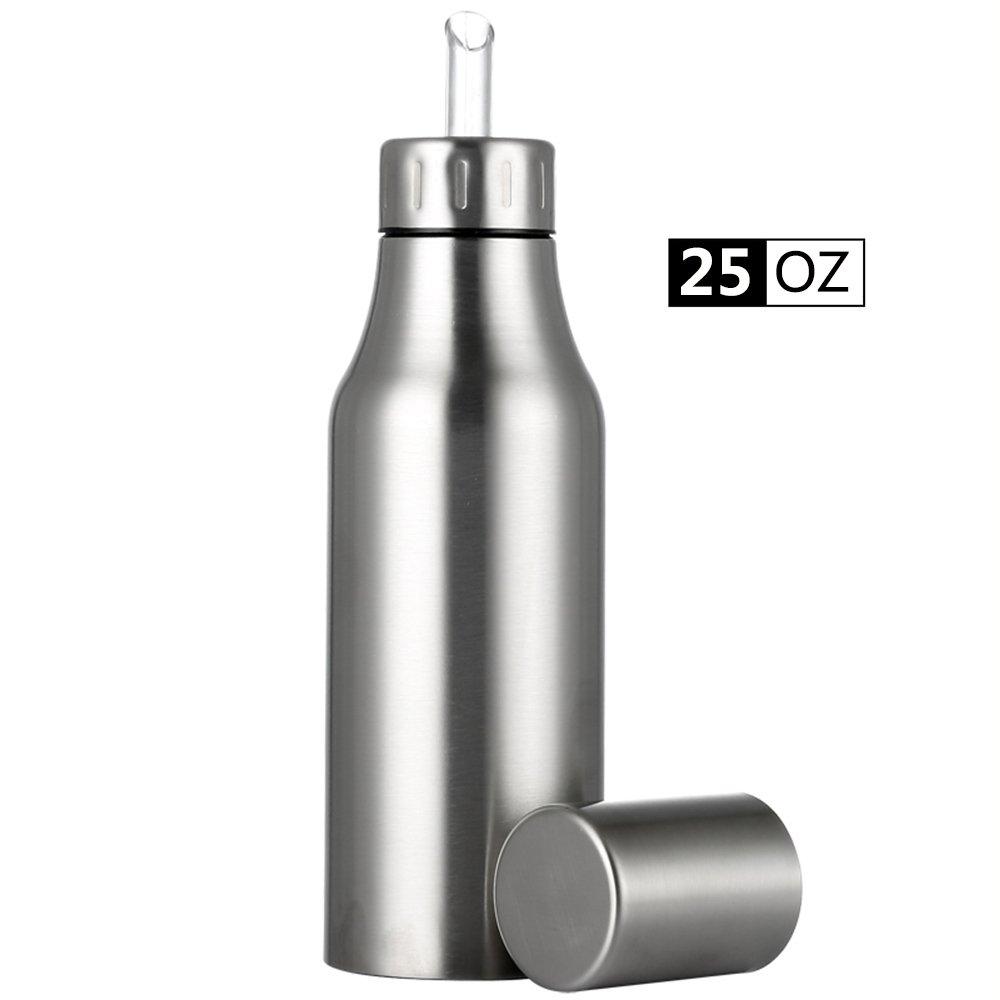 Oil & Vinegar Dispenser Cruet,Stainless Steel Oil Pourer Dispensing Bottles with No Drip Spout,Essential Olive Oil Dispenser Edible Oil Vinegar Container Pot for Kitchen,25 oz/750ML