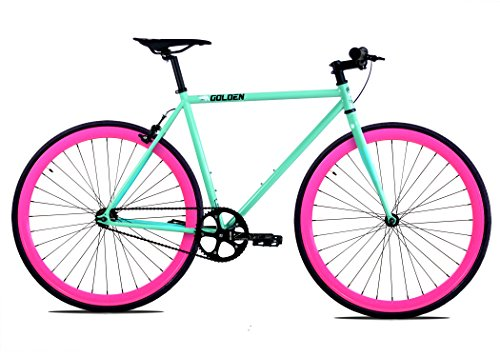 Golden Cycles Single Speed Fixed Gear Bike with Front & Rear Brakes (Betty 52), Celestial/Pink