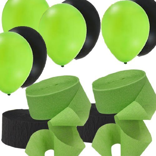 2 Green   2 Black Rolls Streamers And 24 Balloons Decorating Kit