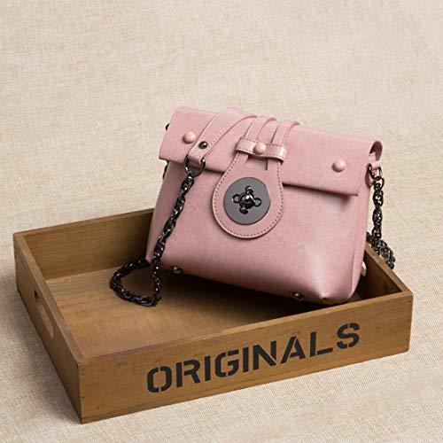per tracolla Marrone donna a pelle vera a spalla colore Baachang Fibbia rosa in Borsa qTRYYZ