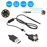 KKmoon 6 LED 5.5MM Lens Endoscope Inspection USB Wire Snake Tube Camera for Ear Nose Throat Health Care, Work with Android and Window PC