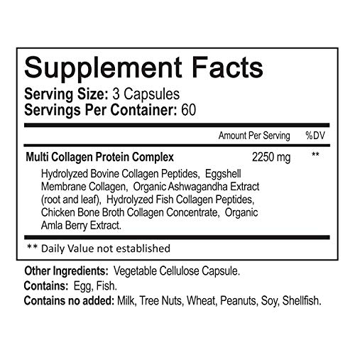 51xpJs%2BUwjL - Multi Collagen Pills 2250mg - 180 Capsules, Type I, II, III, V, X - Grass Fed Bone Broth Collagen Peptides for Anti-Aging, Joints, Hair, Skin, Nails - Hydrolyzed Protein Supplement for Women and Men