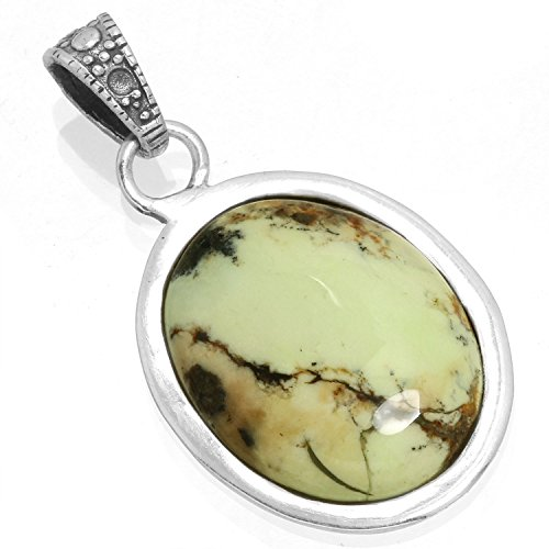 Solid 925 Sterling Silver Mordern Jewelry Natural Lemon Chrysoprase Gemstone Pendant