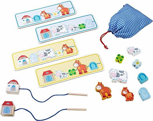 HABA On The Farm Threading Game with 10 Chunky Wooden Lacing Figures & 4 Templates (Made in Germany)