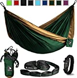 Green and Gold Flagship-X Double Hammock fits 2 adults. Comes with everything including hammock, tree straps, carabiners, and a fire-starting survival paracord bracelet.