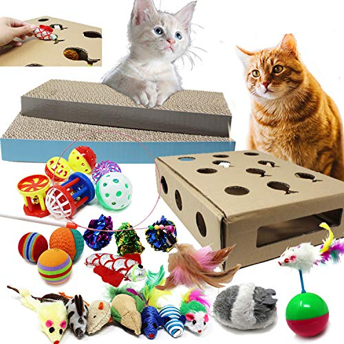 Jalousie 27 Pack Cat Toy Assortment Cat Scratcher and Activity Center