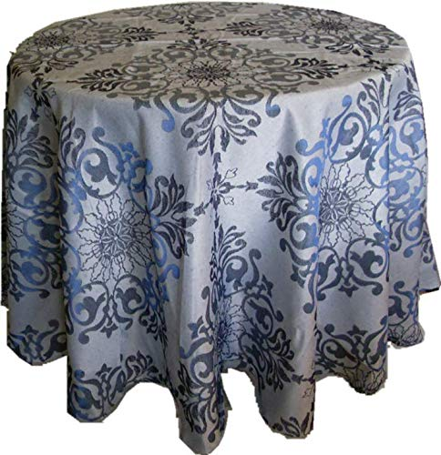DIRECT2HOME Assorted Sizes/Colors Holiday Elegance Jacquard Fabric Tablecloths Polyester (Blue, 60 ()