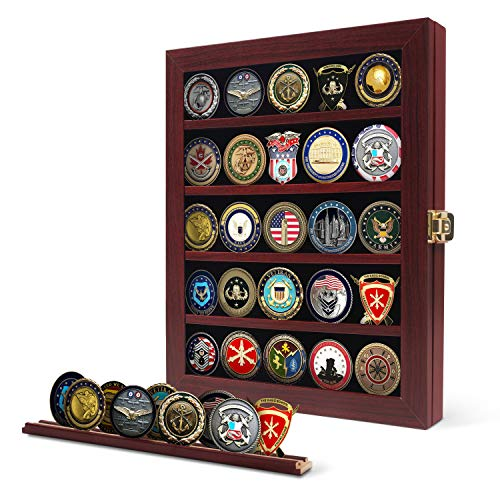 Military Challenge Coin Display Case Wood Cabinet Rack Holder Mahogany Shadow Box Holds 45 Coins Removable Twin Slot Shelf Shatter Proof Anti Fade Acrylic Door for Casino Poker Chips Collectibles