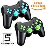 Cheap TPFOON PS3 Wireless Controller with Charging Cable, 2pcs Pack Bluetooth Double Vibration Sixaxis Gamepad Joystick for Sony DualShock 3 PlayStation 3 PS3 (1 Charge&Play Cord Included)