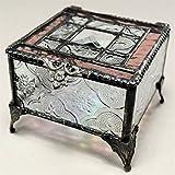 J Devlin Glass Art Box 354-2 Stained Glass Jewelry Keepsake Box Pink Rose Glass Box