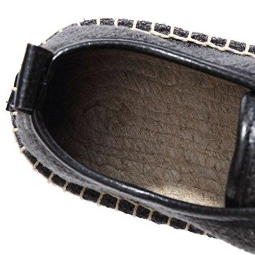 Mocassini Tinta Pantofole Uomo Unita Rotonda Punta Casuale Loafers da Espadrille Jitong on Slip Nero Piatte ZwH5qfO
