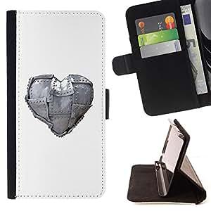 BullDog Case - FOR/Samsung Galaxy S4 Mini i9190 / - / Metal Heart Love /- Monedero de cuero de la PU Llevar cubierta de la caja con el ID Credit Card Slots Flip funda de cuer