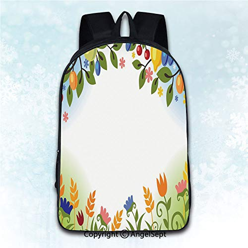 Durable Double Shoulder Bag Rucksack,Harvest Fall Nature Inspired Festive Colorful Frame Fruits and Flowers Berries Swirl Leaves Multicolor 16 inches,Multipurpose Use Travel Backpack