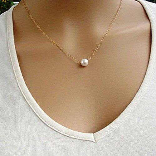 TONSEE Women Simple Fashion Pearl Bib Choker Statement Collar Necklace, Gold