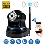AndThere Wireless Plug and Play IP Camera FHD 1080P Wifi Security Surveillance Camera Pan/Tilt Baby Monitor Remote Home Alarm Indoor With Two-Way Audio Night Vision for Mac/PC/iPhone/ Android