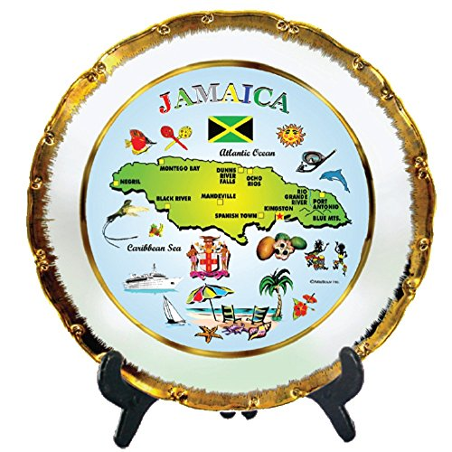 Souvenir Wall Plate (Rockin Gear Decorative Gold Rimmed Plate - Jamaica Map Souvenir and Gift Kitchen Plate with Display Stand 8