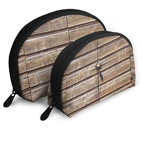 Shell Shape Makeup Bag Set Portable Purse Travel Cosmetic Pouch,Old Wooden Aged Barn Door With Padlock Abandoned Vintage Farmhouse Rural Village Photo,Women Toiletry -