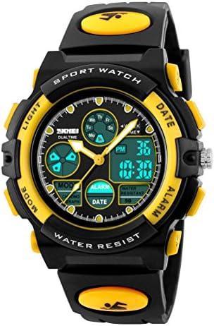 SKMEIスポーツ子供学生プラスチックバンド電子ミリタリーデジタルクォーツLED腕時計 イエロー
