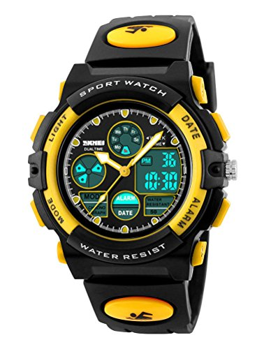 SKMEI Sport Children Students Plastic Band Electronic Military Digital Quartz LED Wristwatches Yellow by SKMEI
