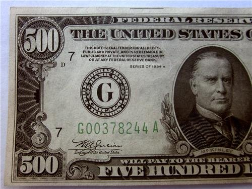 500 Dollar Bill Glossy Poster Picture Photo five hundred currency money usa