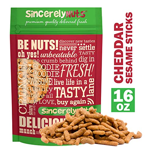 (Sincerely Nuts Cheddar Sesame Sticks - Mouthwatering Flavor - Light & Crunchy - Packed with Healthy Nutrients - Kosher Certified (1 LB))