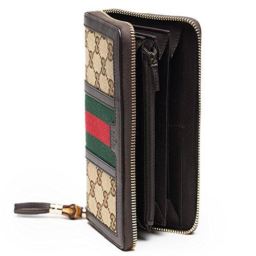 ca7a73372c523a Gucci Rania Original GG zip around wallet Beige Ebony Cocoa Brown ...