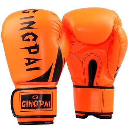 Leather Gloves Padded Bag (Gymforward PU Leather Professional Boxing Training Gloves MMA Fighting Sandbag Punching Gloves Thai Training Kickboxing Gloves (Orange))