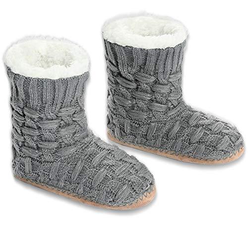 MaaMgic Damen Hausschuhe Warme Stiefel Schuhe Homeboots mit Puschel Bommeln rutschfest & Plüsch & Kuschel & Süß, Frauen Weihnachten Hüttenschuhe MEHRWEG