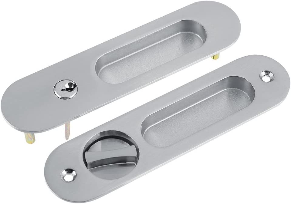 Zerodis Invisible Door Locks Handle Anti-Theft with 3 Keys for Sliding Barn Wooden Door Furniture Hardware Silver