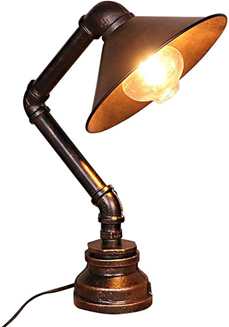 CUTELOVE Lámpara de Mesa Forma Tubo Jaula Metal Vintage Lámparas ...