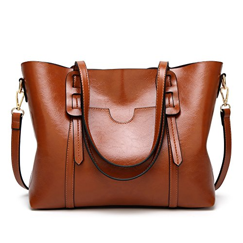 AILEESE Womens Soft Leather Handbags Large Capacity Retro Vintage Top-Handle Casual Tote Shoulder Laptop Bags (Tote Leather Retro)